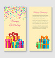 birthday greeting card with gift boxes vector image vector image