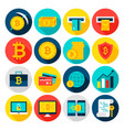 bitcoin currency flat icons vector image vector image
