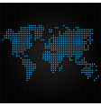 blue dotted world map on black background vector image vector image