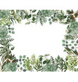 border and frame with leaves and succulent vector image vector image