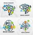 Brain minimal line style infographic banner design vector image
