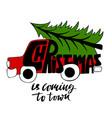 car with a christmas tree christmas vector image