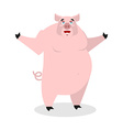 Cheerful pig spread his arms in an embrace vector image vector image