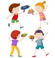 Children playing with water guns vector image vector image