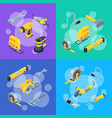 construction tools isometric icons concept vector image vector image