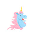 cute frightened unicorn character cartoon vector image vector image