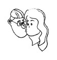 figure avatar couple face kissing with hairstyle vector image vector image