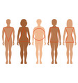 five female silhouettes types female figures vector image vector image