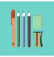 flat icon on stylish background pencil eraser pen vector image vector image