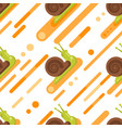 flat style seamless pattern with snail vector image vector image