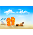 Flip flops sunglasses beach chair and a butterfly vector image vector image