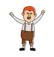 Happy man in folk german costume raising arms icon