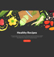 healthy recipes landing page template with organic vector image