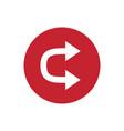 icon u shaped double head arrow in color circle vector image