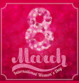 lettering 8 march on blurred bokeh burgundy vector image vector image