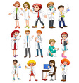Male and female scientists in white gown vector image vector image