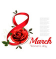 march with red rose international womens vector image