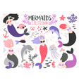 mermaid girls collection vector image