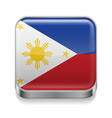 Metal icon of Philippines vector image