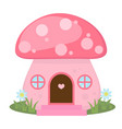mushroom house icon cartoon style isolated on vector image