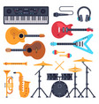 music instruments orchestra drum piano vector image
