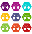 pills icon set color hexahedron vector image vector image