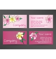 Pink business cards template with lily flowers vector image vector image