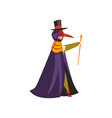 plague doctor costume man at carnival halloween vector image vector image