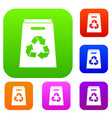 recycle shopping bag set collection vector image vector image