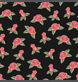 roses seamless pattern on black background hand vector image
