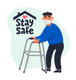 senior patient protection stay safe concept vector image vector image