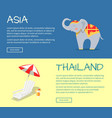 set of asia and thailand flat web banners vector image vector image