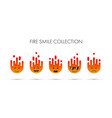 set of fire emoticons icon pack emoji isolated vector image