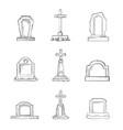 set sketch cemetery stone tombstones vector image vector image