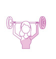 silhouette woman with dumbbell to do exercise vector image vector image