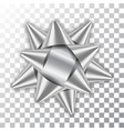 silver bow ribbon 3d decor element package shiny vector image vector image