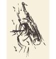 sketch saxophone jazz retro style drawn vector image