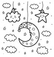 sleeping moon and star at night coloring page vector image vector image