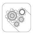 square shape with silhouette set gear wheel vector image vector image