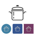 stew pan line icon in different variants vector image vector image