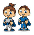 superhero boy and girl icons vector image vector image