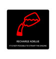 warning dashboard car icon recharge adblue it is vector image