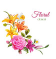 watercolor lily rose flower wedding card vector image
