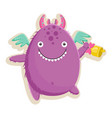 with cute little purple vector image vector image