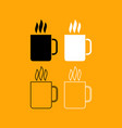 cup with hot drink set black and white icon vector image