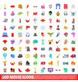 100 movie icons set cartoon style vector image vector image
