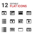 12 browser icons vector image vector image