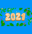 2021 happy new year greeting card with gingerbread vector image