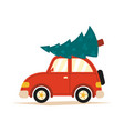 a red car with a christmas vector image vector image