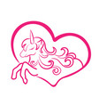 a sleeping unicorn in the heart vector image